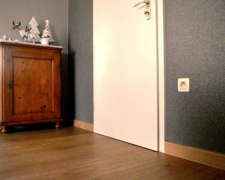 Behangen accentmuur woonkamer. overige muren behangen met renovatievlies en nadien overschilderd